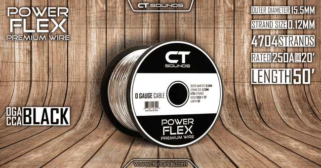 0GA CCA BLACK Wire Spool (50 Feet) 05 Wiring- CT Sounds Car Audio