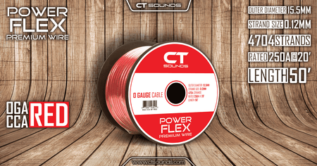 PRE-ORDER -- 0GA CCA Red Wire 50 Feet Spool Wiring- CT Sounds Car Audio