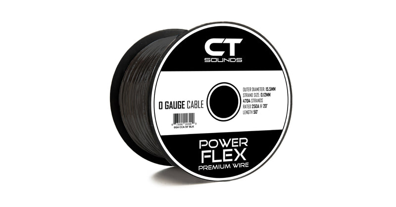 0GA CCA BLACK Wire Spool (50 Feet) Wiring- CT Sounds Car Audio