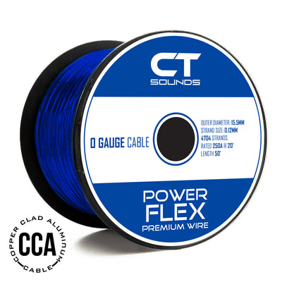 0GA CCA BLUE Wire Spool (50 Feet) 05 Wiring- CT Sounds Car Audio