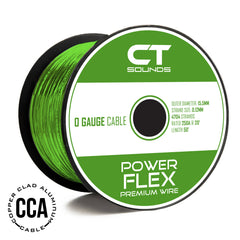 0GA CCA GREEN Wire Spool (50 Feet) 05 Wiring- CT Sounds Car Audio