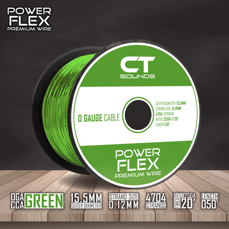 0GA CCA GREEN Wire Spool (50 Feet) Wiring- CT Sounds Car Audio
