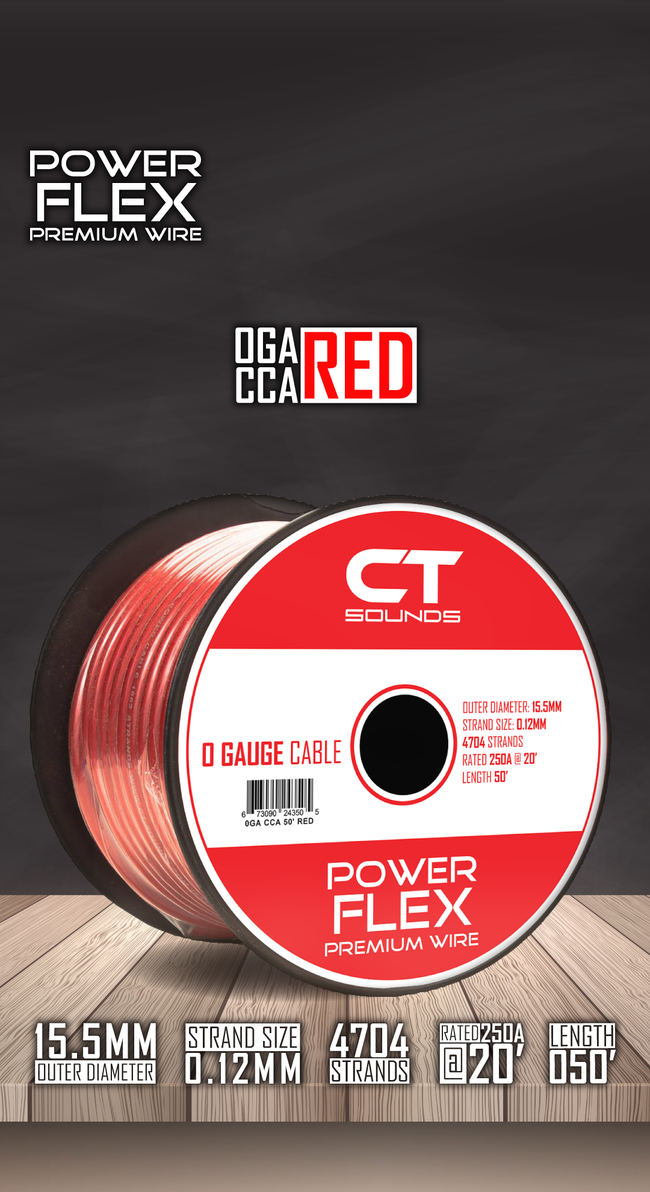 0GA CCA RED Wire Spool (50 Feet) 05 Wiring- CT Sounds Car Audio