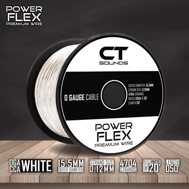 0GA CCA WHITE Wire Spool (50 Feet) 05 Wiring- CT Sounds Car Audio