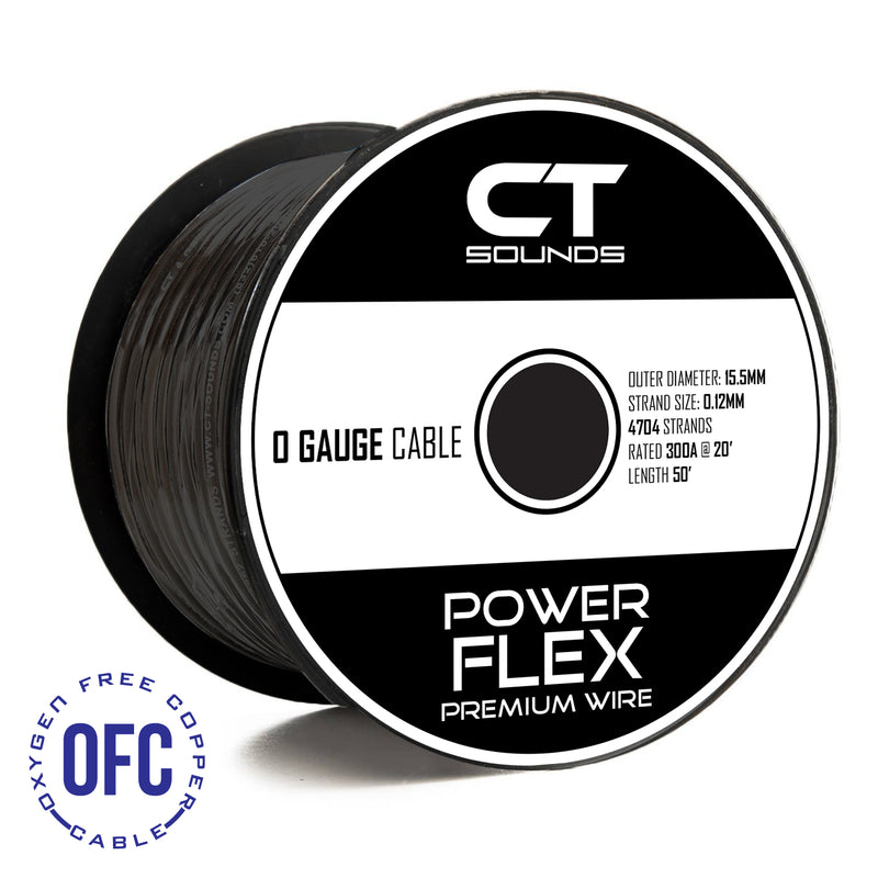 0GA OFC BLACK Wire Spool (50 Feet) 05 Wiring- CT Sounds Car Audio