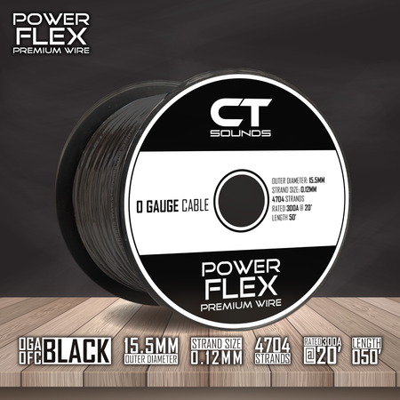 0GA OFC BLACK Wire Spool (50 Feet) Wiring- CT Sounds Car Audio