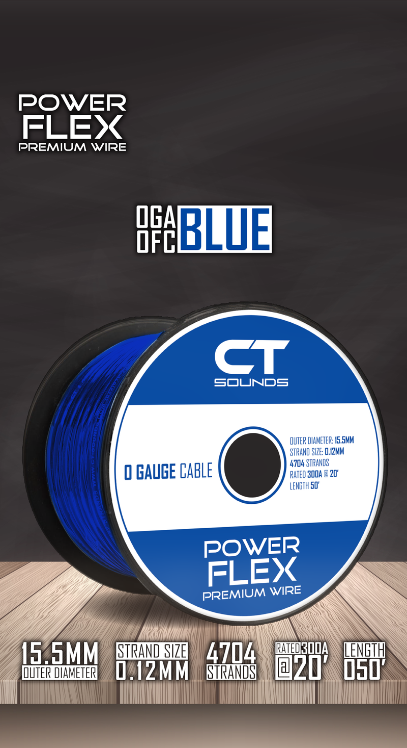 0GA OFC BLUE Wire Spool (50 Feet) 05 Wiring- CT Sounds Car Audio