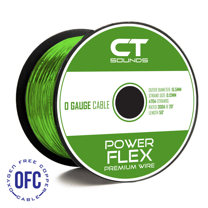 0GA OFC GREEN Wire Spool (50 Feet) 05 Wiring- CT Sounds Car Audio