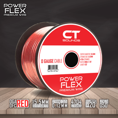 0GA OFC RED Wire Spool (50 Feet) Wiring- CT Sounds Car Audio