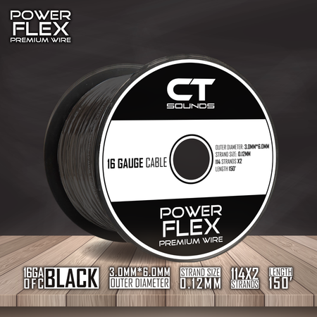 16GA OFC Black Wire Spool (150 Feet) 05 Wiring- CT Sounds Car Audio