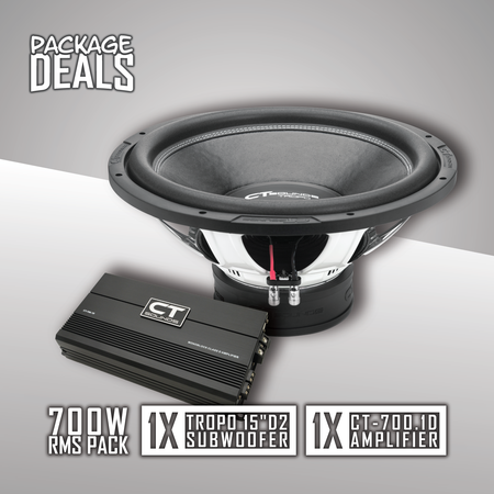 "(1) Tropo 15"" D2 Subwoofer + (1) CT-700.1D Amplifier; 600W RMS Bass PACK 09 Bass Package- CT Sounds Car Audio"