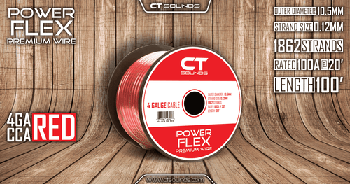 4GA CCA Red Wire 100 Feet Spool - CT SOUNDS