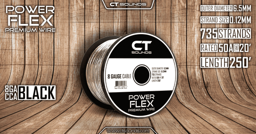 8GA CCA Black Power Wire 250 Feet - CT SOUNDS