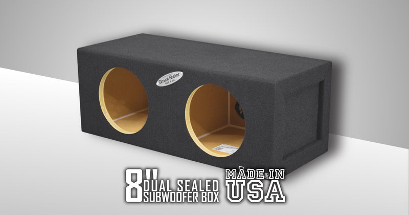 Dual 8 Inch Sealed Mid-Size Box Subwoofer Box- CT Sounds Car Audio