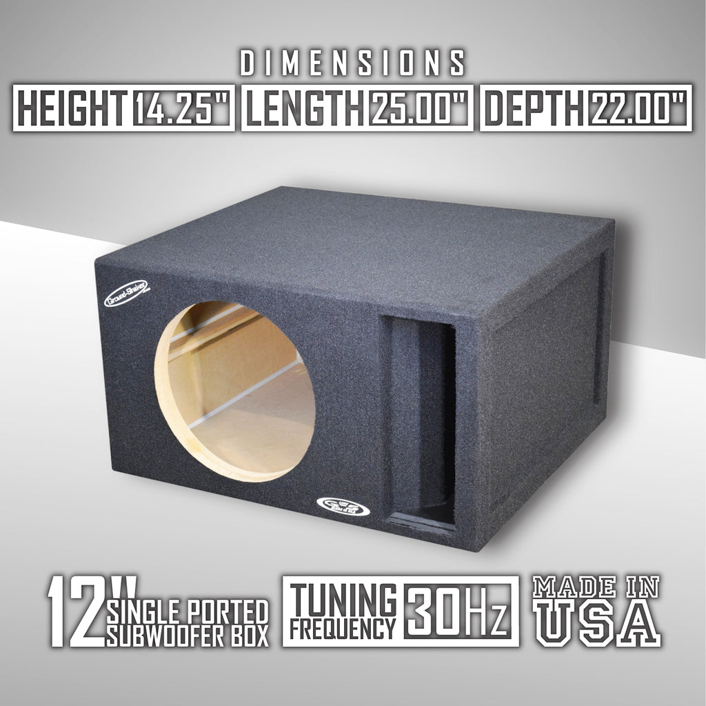Single 12 Inch 30 Hertz Competition Ported Subwoofer Box