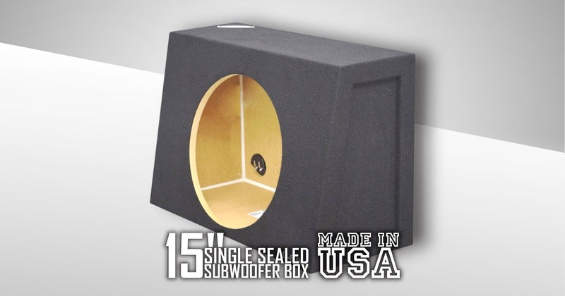 "Black 15"" Single Sealed Sub Box, Fits Regular Cab Trucks Subwoofer Box- CT Sounds Car Audio"