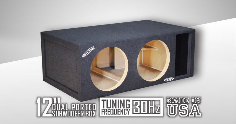 "Black 12"" Dual Competition Ported Sub Box Subwoofer Box- CT Sounds Car Audio"