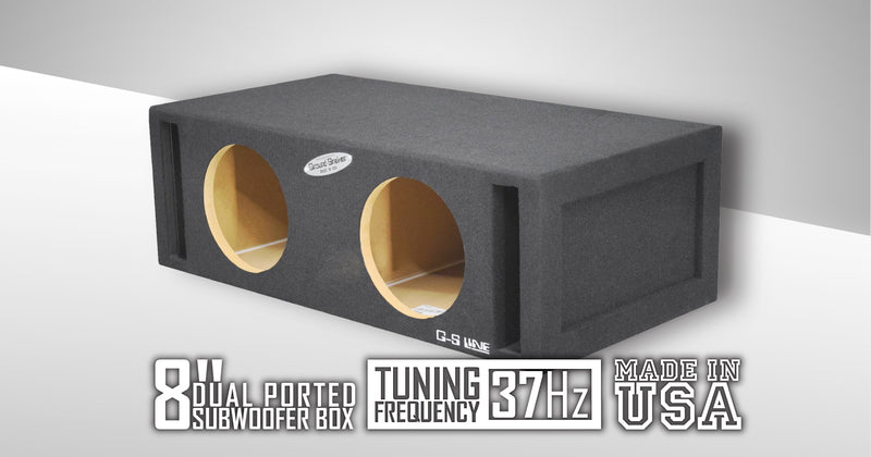 Dual 8 Inch Ported Box Subwoofer Box- CT Sounds Car Audio