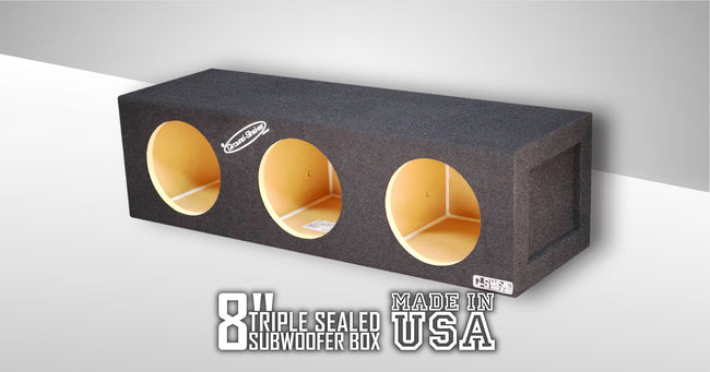 Triple 8 Inch Sealed Box Subwoofer Box- CT Sounds Car Audio