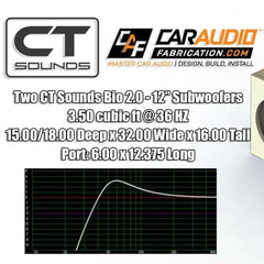 Dual 12 Inch Front PORTED Subwoofer Box Design Box Designs- CT Sounds Car Audio