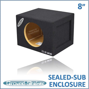 "Black 8"" Single Mid-Size Sealed Sub Box - CT SOUNDS"