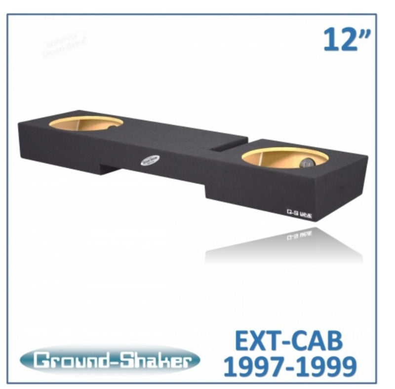 "Black 12"" Dual Sealed Sub Box, Fits Ford F-150 Extended/Super Cab 1997-1999 Subwoofer Box- CT Sounds Car Audio"