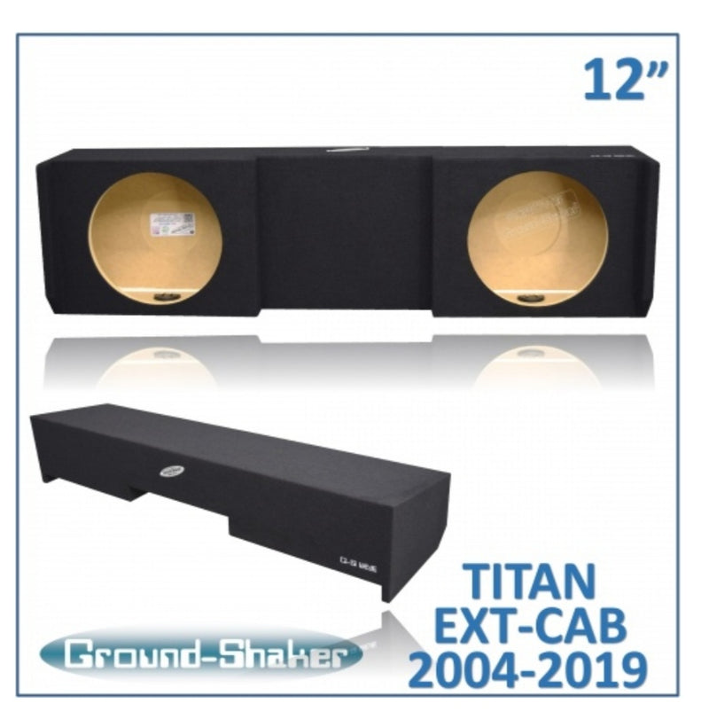 "Black 12"" Dual Sealed Sub Box, Fits Nissan Titan Ext/King-Cab 2004-2019 Subwoofer Box- CT Sounds Car Audio"