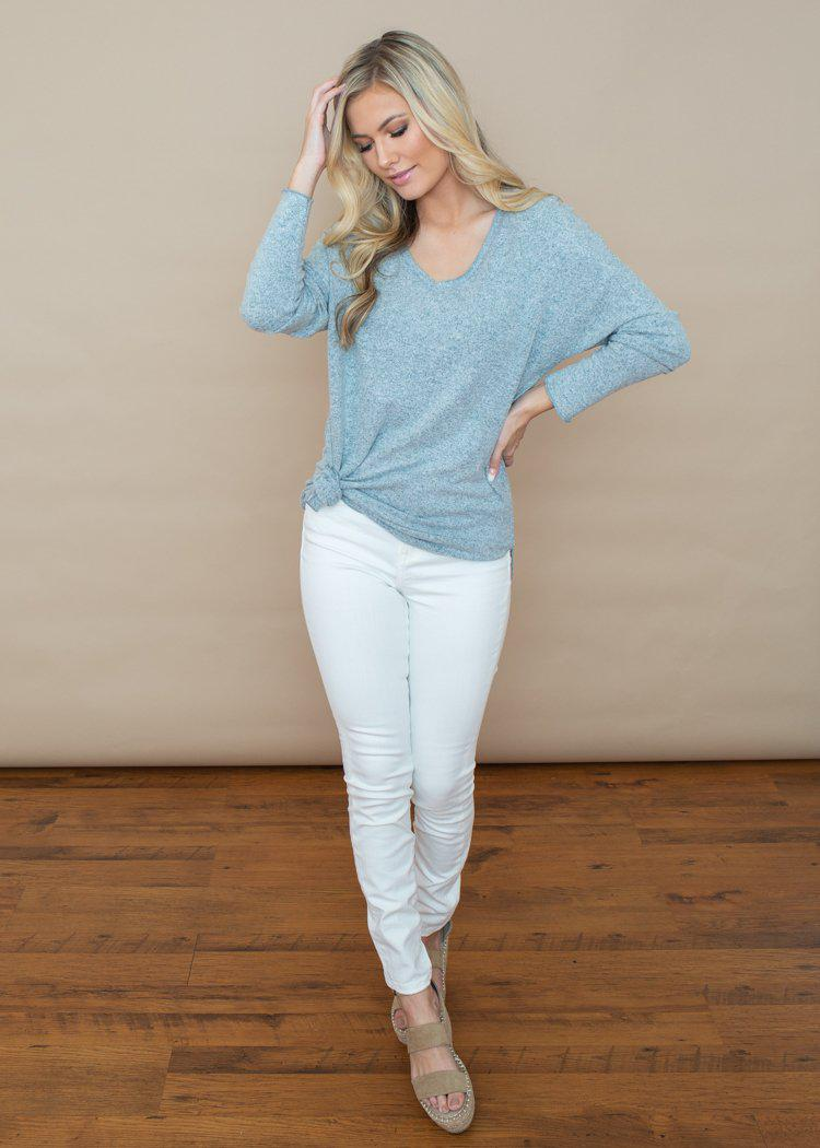 Z Supply Marled Sweater V Neck Tunic-Hand In Pocket