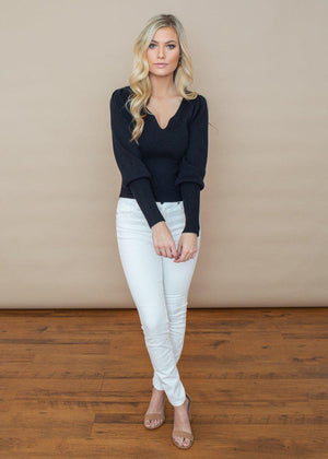 ASTR the Label Marina Puff Sleeve Fitted Ribbed Top - Black ***FINAL SALE***-Hand In Pocket