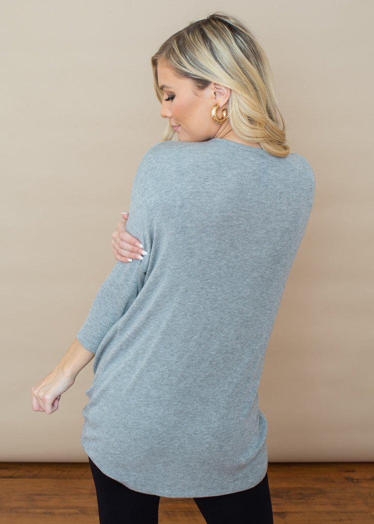 Bobi Ribbed 3/4 Sleeve Dolman Twist Front Top - Grey-Hand In Pocket