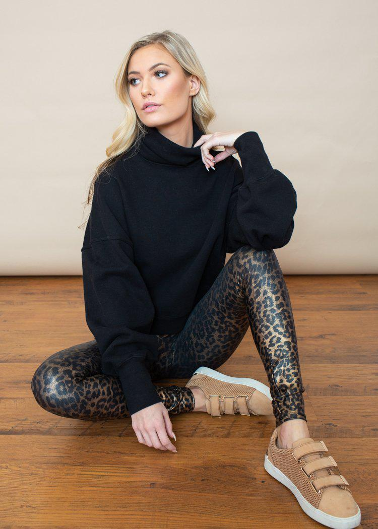 Spanx Faux Leather Leggings - Leopard Shine-Hand In Pocket