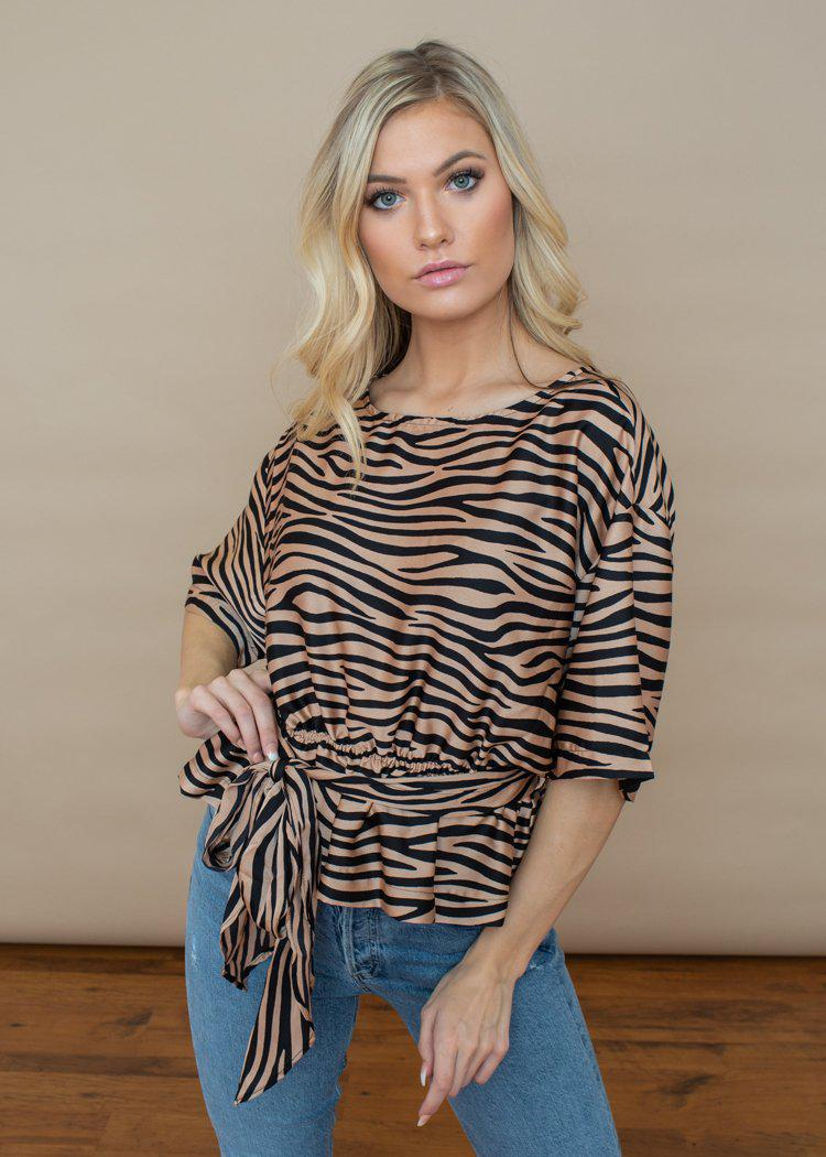 BB Dakota Wild Thing Zebra Print Satin Top - Light Camel-Hand In Pocket