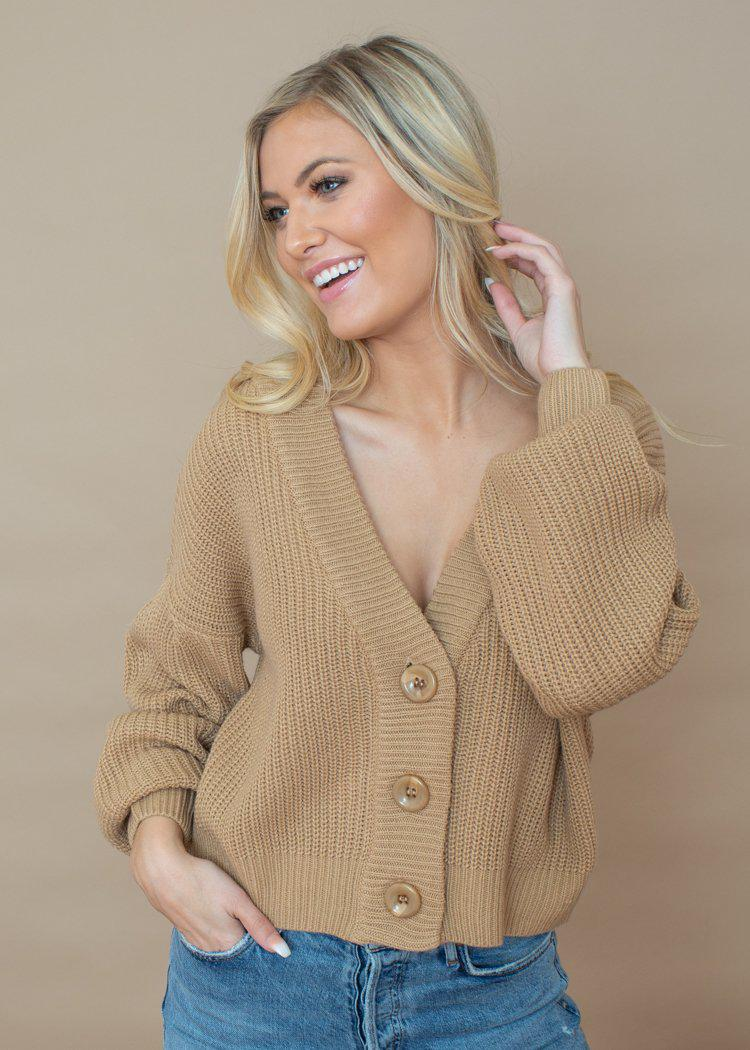 Line + Dot Walnut Cardigan -Taupe-***FINAL SALE***-Hand In Pocket