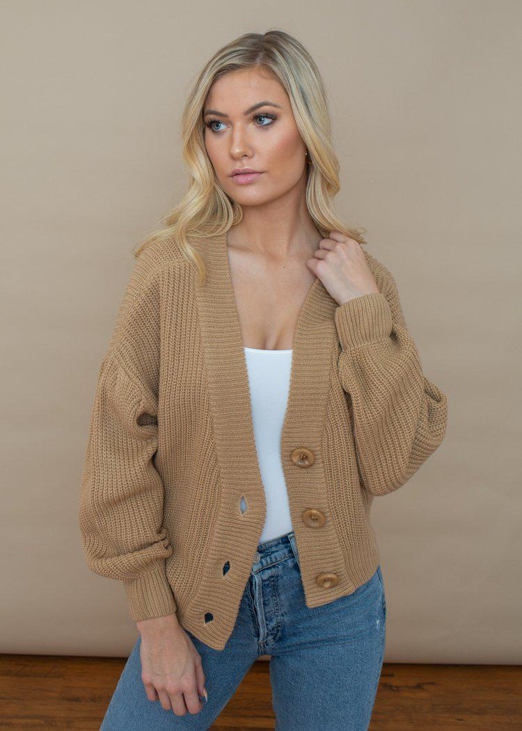 Line + Dot Walnut Cardigan -Taupe-Hand In Pocket