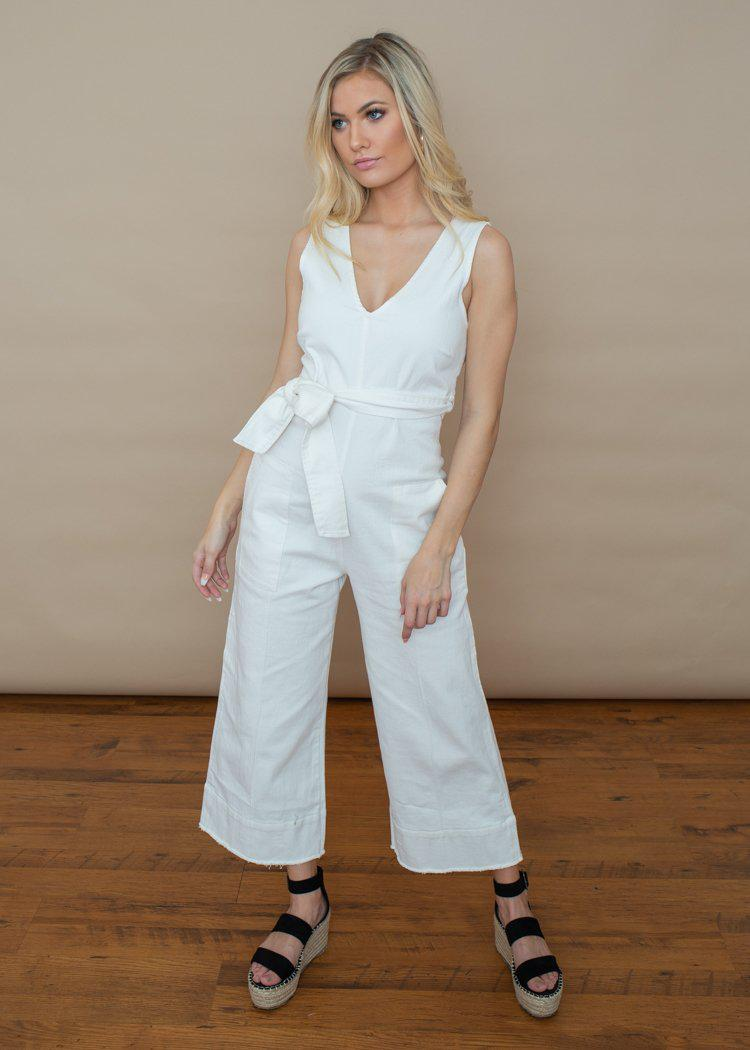 Astr the Label Daydream Denim Jumpsuit-Off White-Hand In Pocket