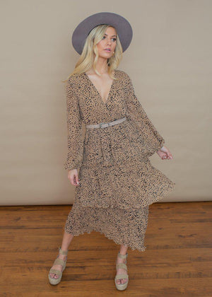 Dinala Tiered Leopard Maxi Print Dress - Taupe Leopard-Hand In Pocket