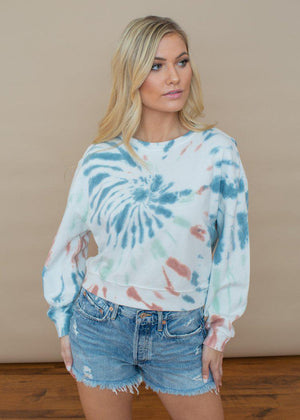 Z Supply Tie Dye Long Sleeve Pullover-Hand In Pocket