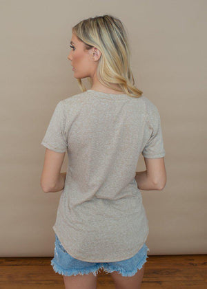 Z Supply Cotton Triblend Pocket Tee- Taupe-Hand In Pocket