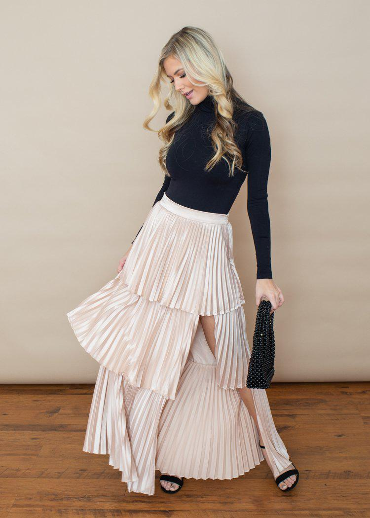 Annika Satin Pleated Tiered Maxi Skirt -Blush-Hand In Pocket