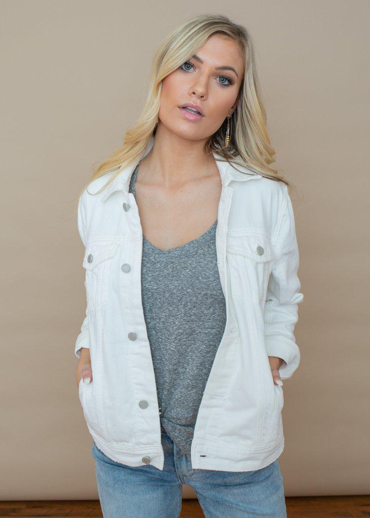 Blank NYC Head In The Clouds Denim Jacket-White-Hand In Pocket
