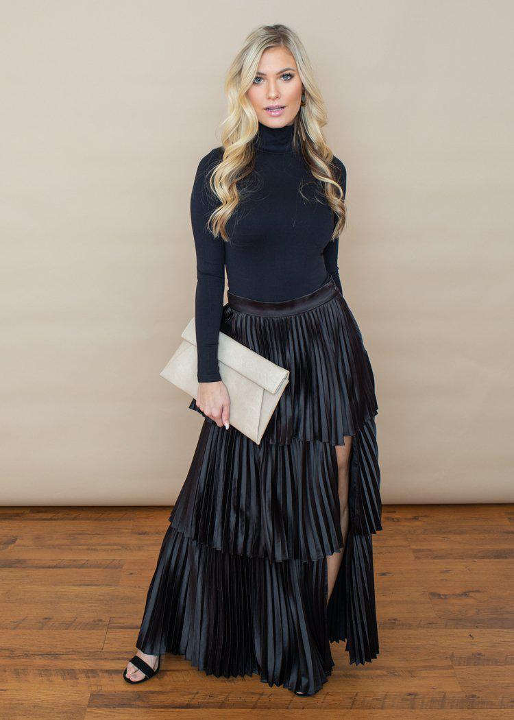 Annika Satin Pleated Tiered Maxi Skirt -Black-Hand In Pocket