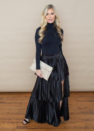 Annika Satin Pleated Tiered Maxi Skirt -Black-***FINAL SALE***-Hand In Pocket