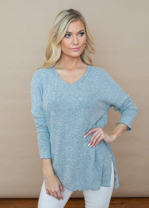 Z Supply Marled Sweater V Neck Tunic ***FINAL SALE***-Hand In Pocket