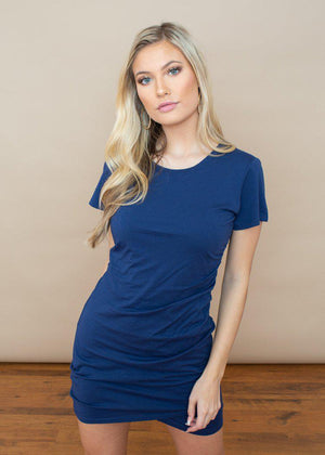 Bobi Short Sleeve Ruched Dress-Ink-Hand In Pocket