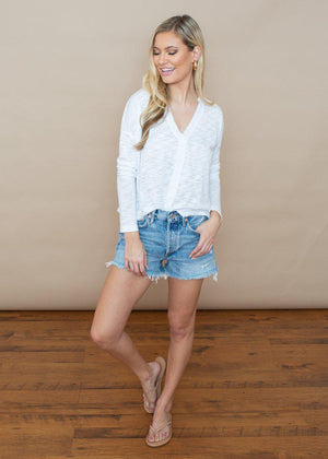 Bobi Burn Out Slub Button front Cardigan- White ***FINAL SALE***-Hand In Pocket