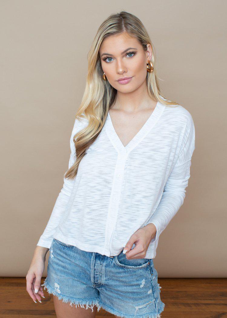 Bobi Burn Out Slub Button front Cardigan- White-Hand In Pocket