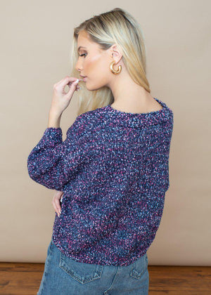 Jack by BB Dakota Party Favor Confetti Sweater-Navy-Hand In Pocket