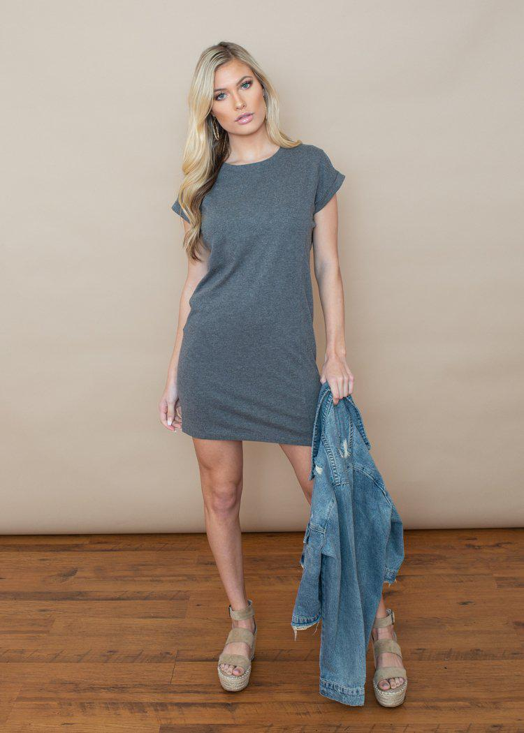Bobi Crew Neck Cotton T-Shirt Dress Grey-Hand In Pocket