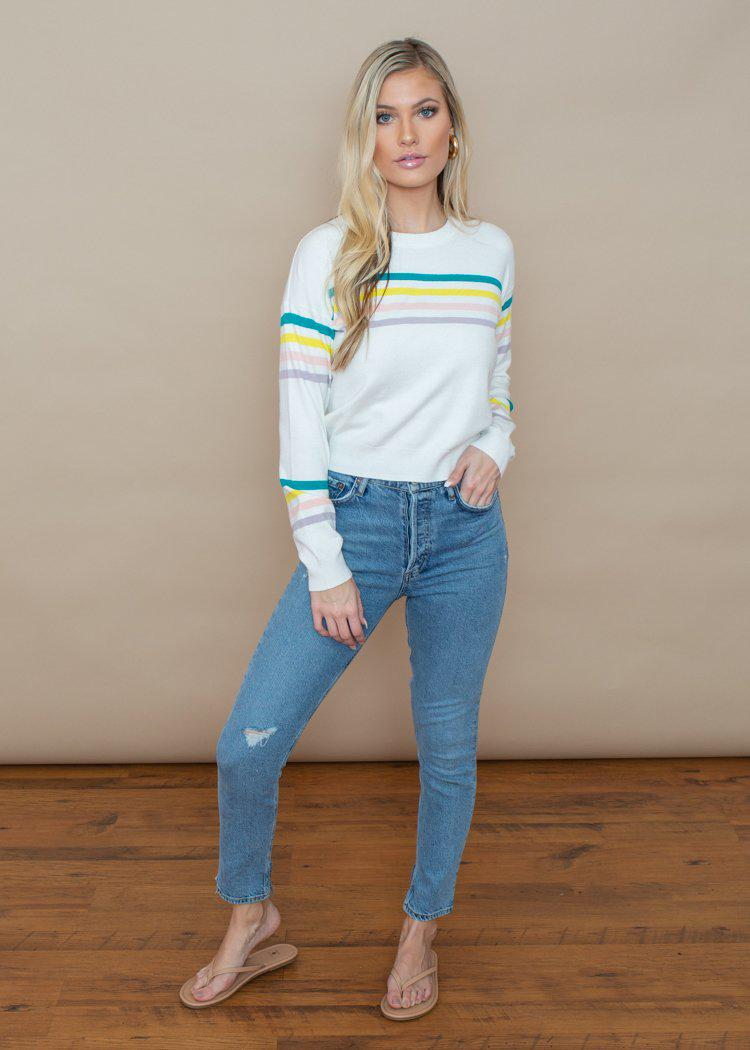 BB Dakota Like A Rainbow Striped Crewneck Sweater-Hand In Pocket