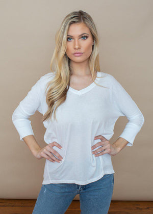 Bobi 3/4 Sleeve Hi/Lo Ribbed Contrast Tee-White-Hand In Pocket